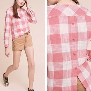 NWT Anthro Cloth & Stone pink gingham blouse